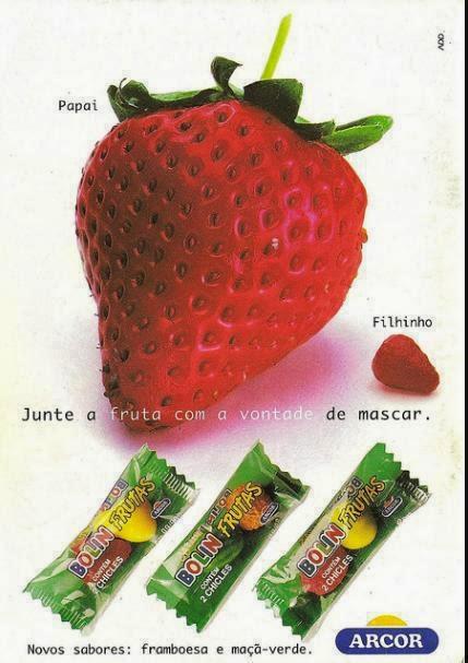 Propaganda do chiclete Bolin Frutas (Arcor) em meados dos anos 90: cores e sabores de frutas.