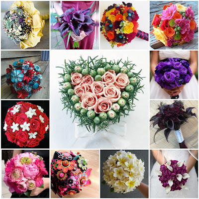 image bouquet flowers floral buttons vintage brooches collage