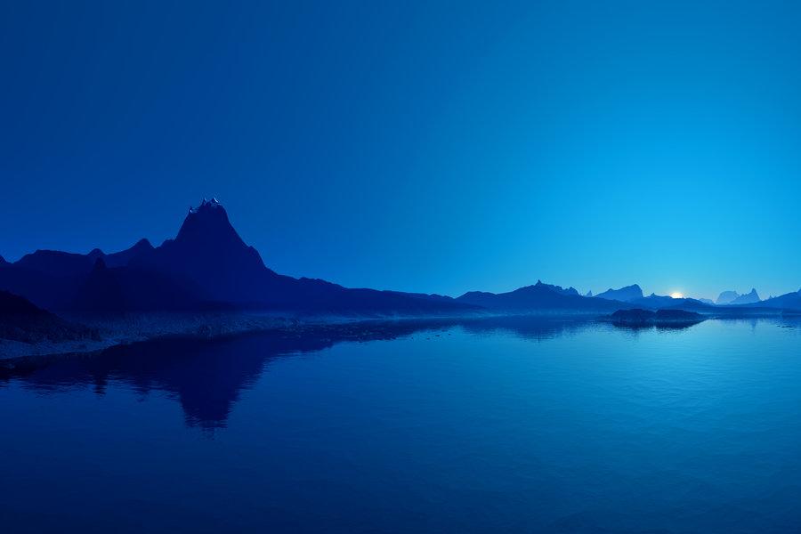 Hermoso paisaje azul