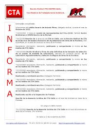C.T.A. INFORMA CRÉDITO HORARIO ANTONIO PÉREZ, OCTUBRE 2020