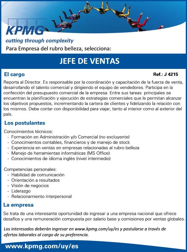 Conseguir Trabajo en Uruguay: Jefe de Ventas - KPMG