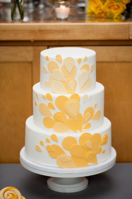 3 Tier Wedding Cake with Yellow Petals