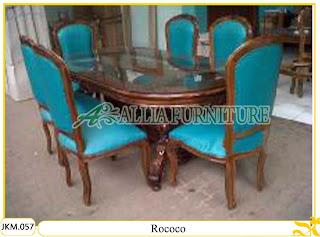 Kursi dan Meja Makan Kayu Jati Ukiran Rococo