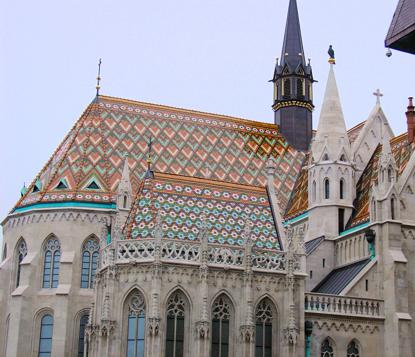 Exquisite diamond patterns adorn the roof of Saint Matthias in Budapest, Hungary.