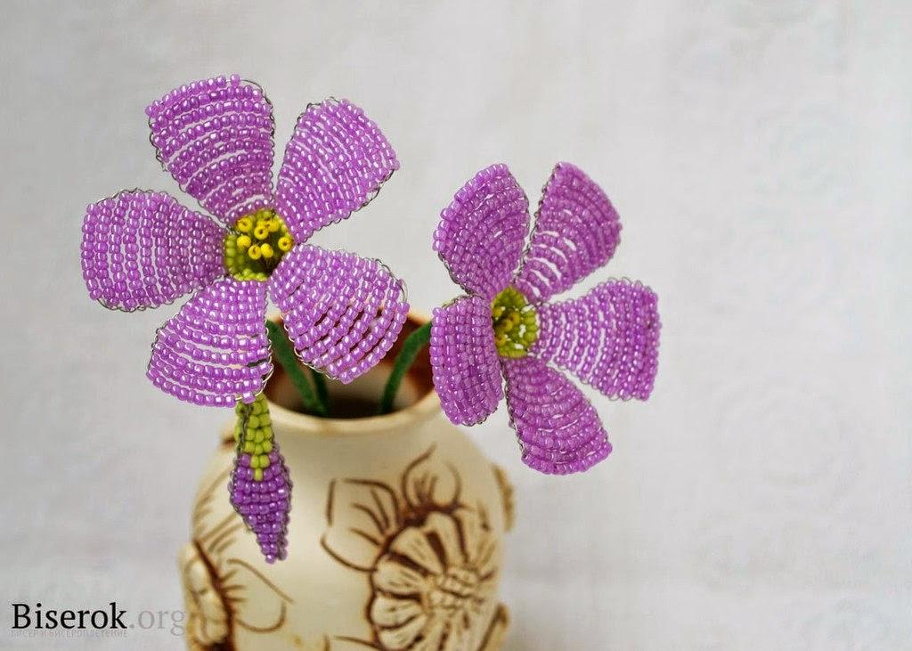 Кислица из бисера - цветок