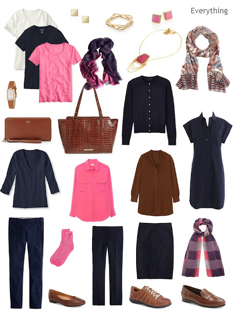 travel capsule wardrobe in navy, bright pink, and chestnut brown