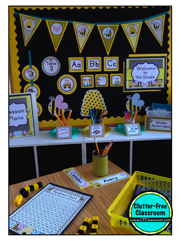 Classroom Decoration Ideas With Charts ~ Clutter free classroom bee themed photos tips