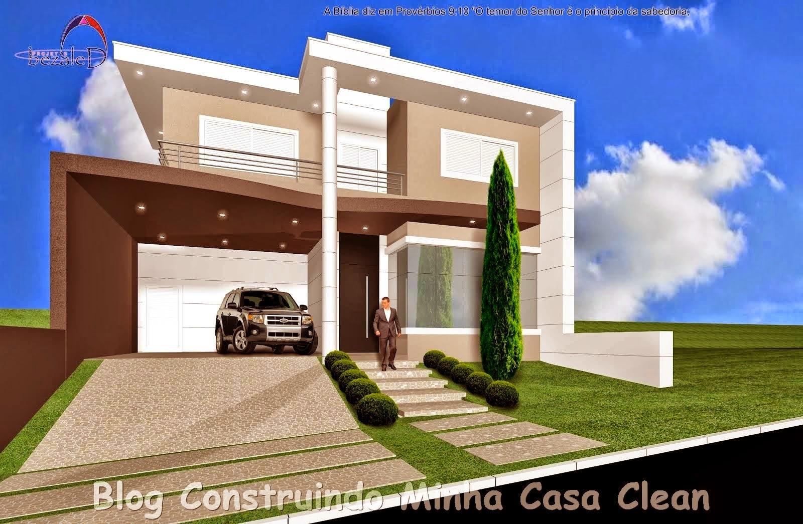 Construindo minha casa clean fachadas de casas com portas for Fachadas casas modernas