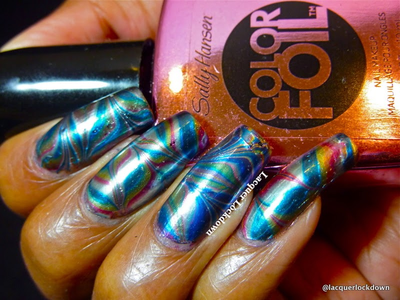 Lacquer Lockdown - Sally Hansen, Sally Hansen Color Foils, nail art, watermarble nail art, watermarble nails, watermarble, sally hansen watermarble, cute nail art, cute nail art ideas, diy nail art, foil finish nail polish, color foil nail art, iheartnailart,