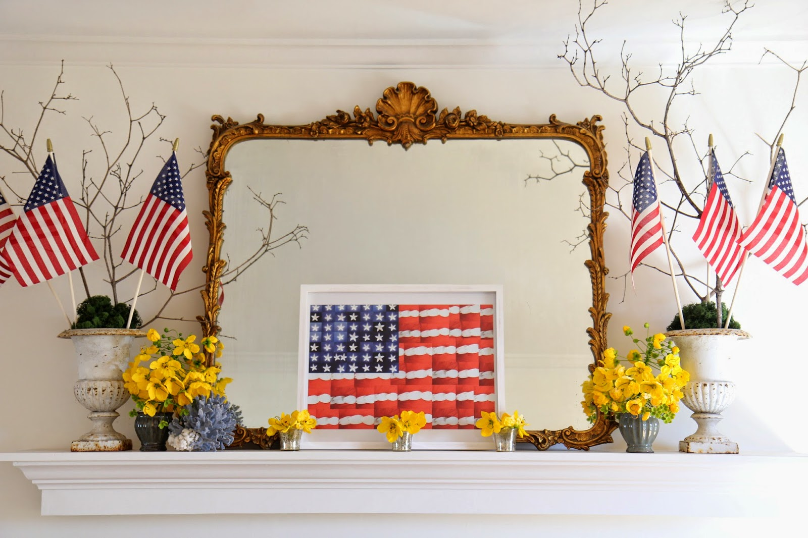 Fourth of July Mantle Decor; American Flags; Nora's Nest