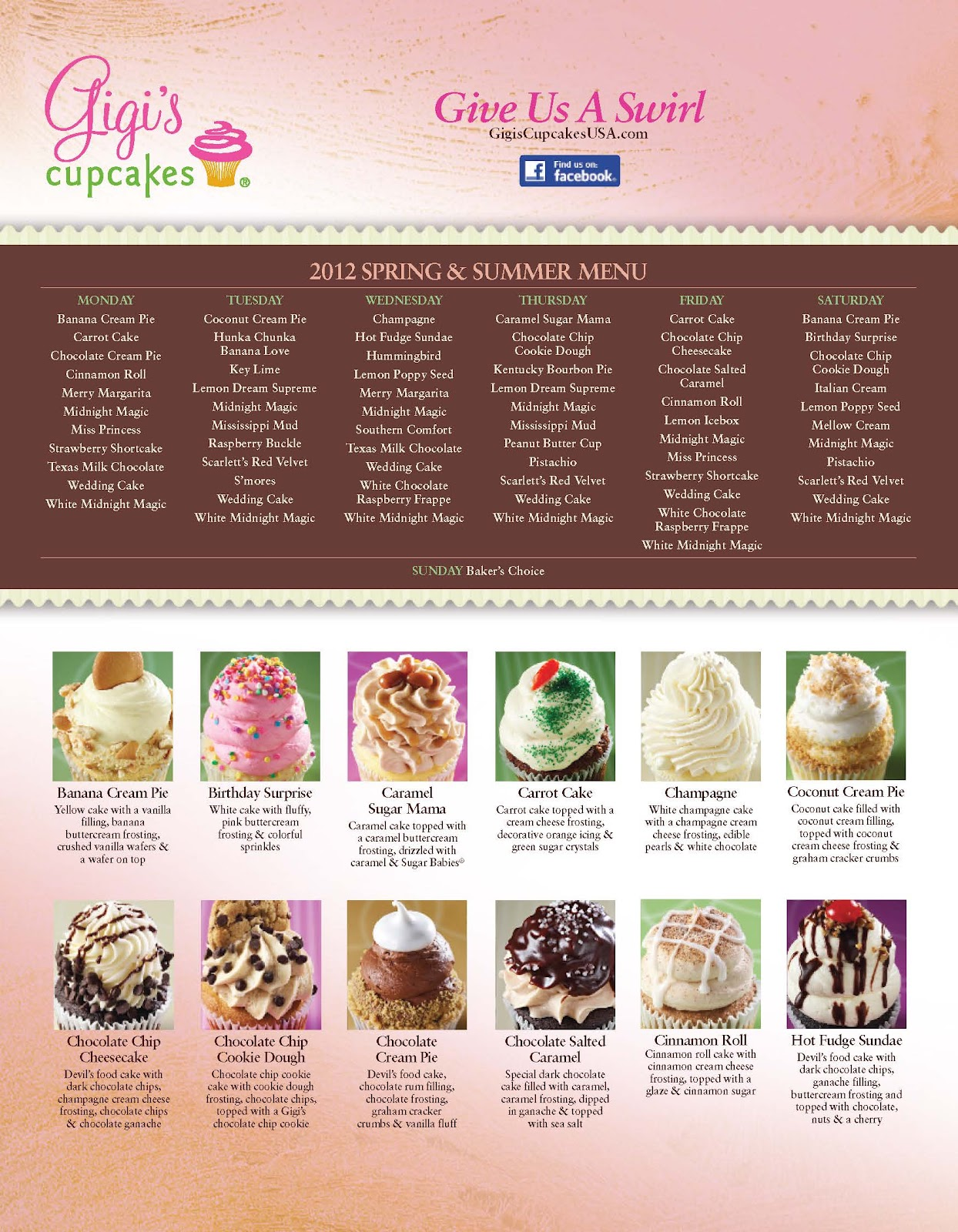 Incomplete Menu; Out of Date Menu; Incorrect Contact Information; Other. Successfully reported! Cancel. Gigi's Cupcakes. Call Menu Info. E Southlake Blvd Southlake, TX Uber. MORE PHOTOS. Menu Cupcakes Decadent chocolate cheesecake topped with cherries and a rim of Gigi's famous buttercream frosting for a delicious twist on a.