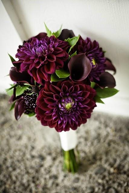purple dahlia bridal bouquet