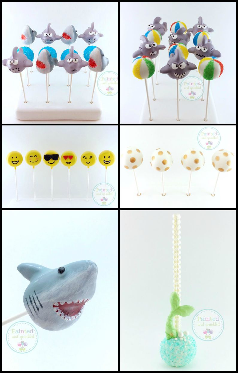 Loving all these fun summer cake pops from Painted and Sprinkled. Find out how to make the shark cake pops at Pint Sized Baker!