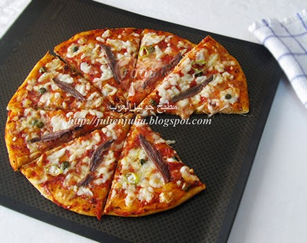 Anchovy Caper Cheesy Quick Pizza بيتزا الأنشوجة والكابر