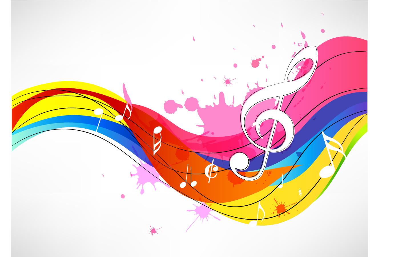 カラフルな曲線と音符の背景 Abstract music note background イラスト素材