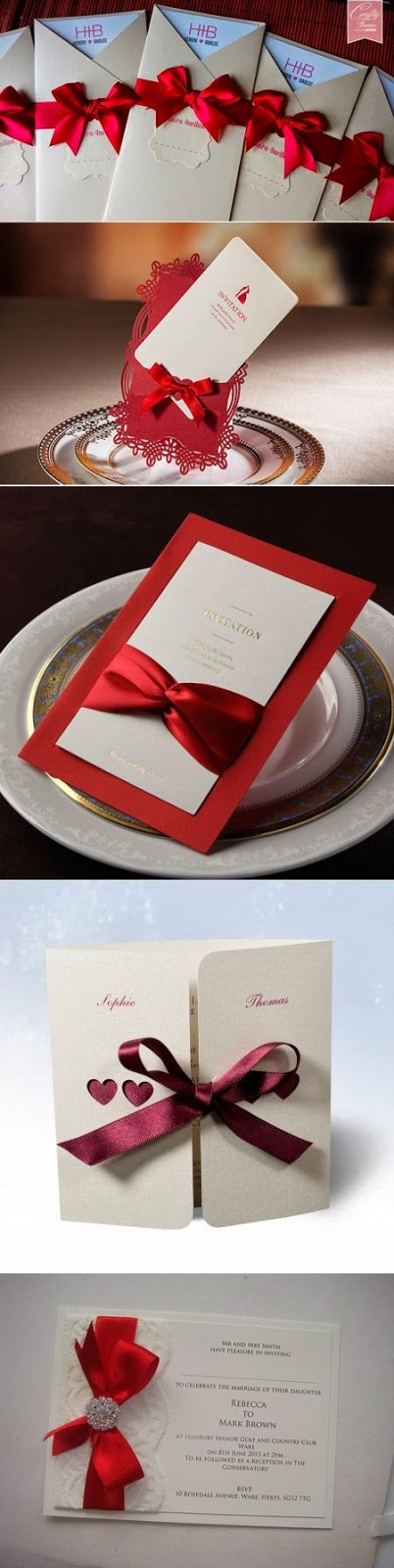wedding invitations with red ribbons