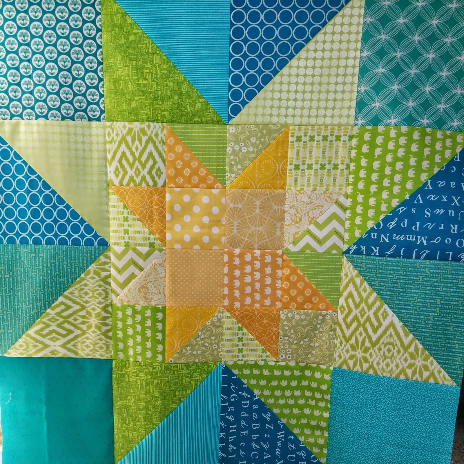 star in star wedding quilt progress 1