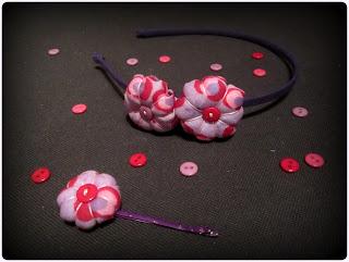 Diadema flores de tela - ChikiPol