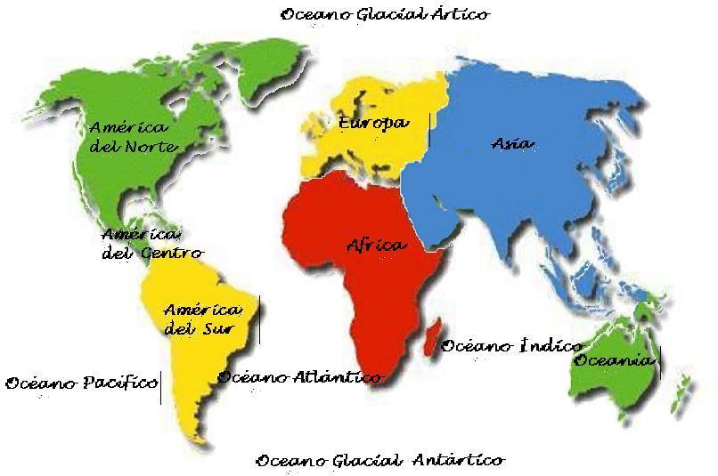 Dibujos de mapamundi de los continentes - Imagui