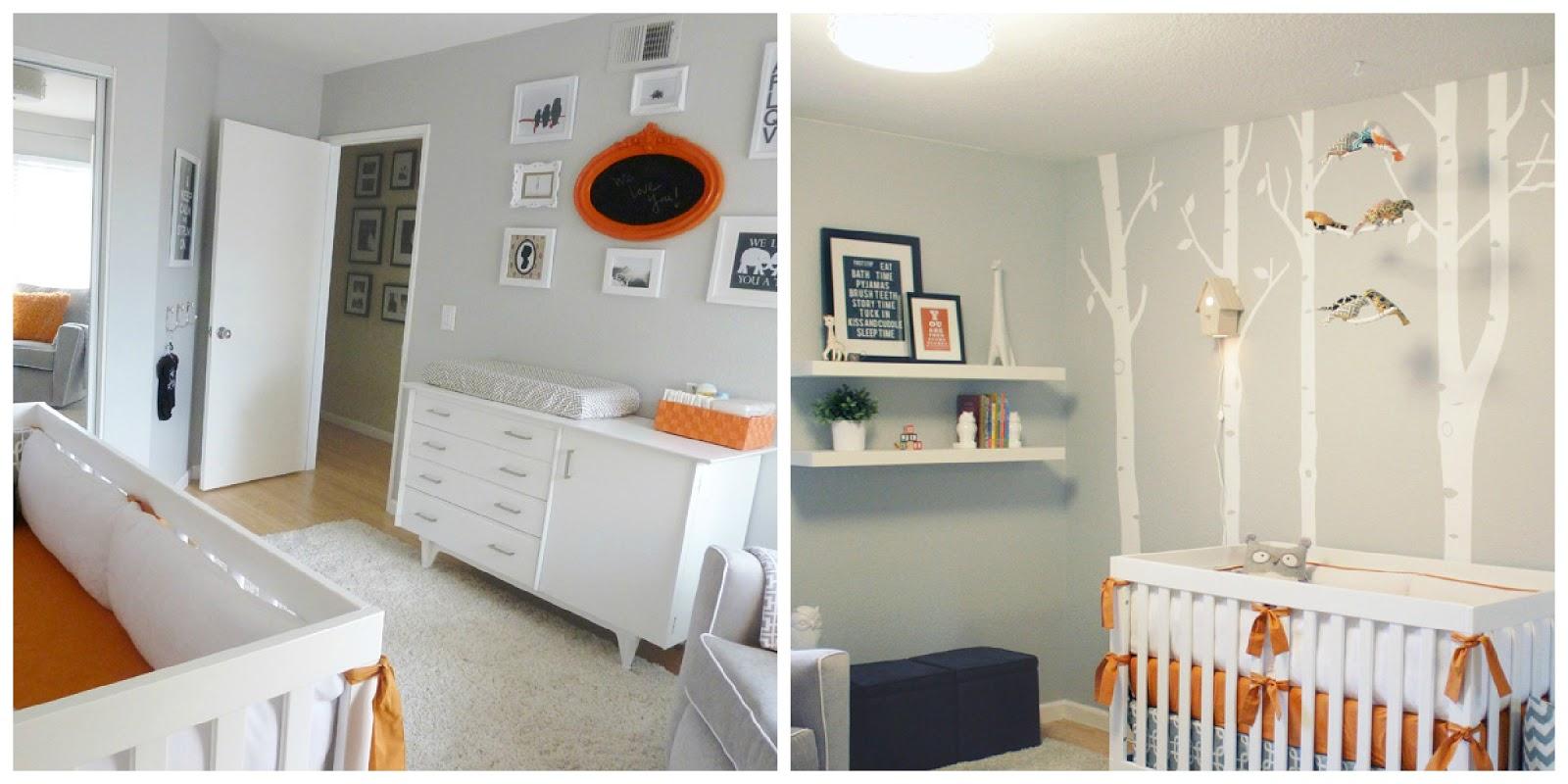 Eternamente flaneur gris y naranja para un cuarto de beb - Iluminacion habitacion bebe ...
