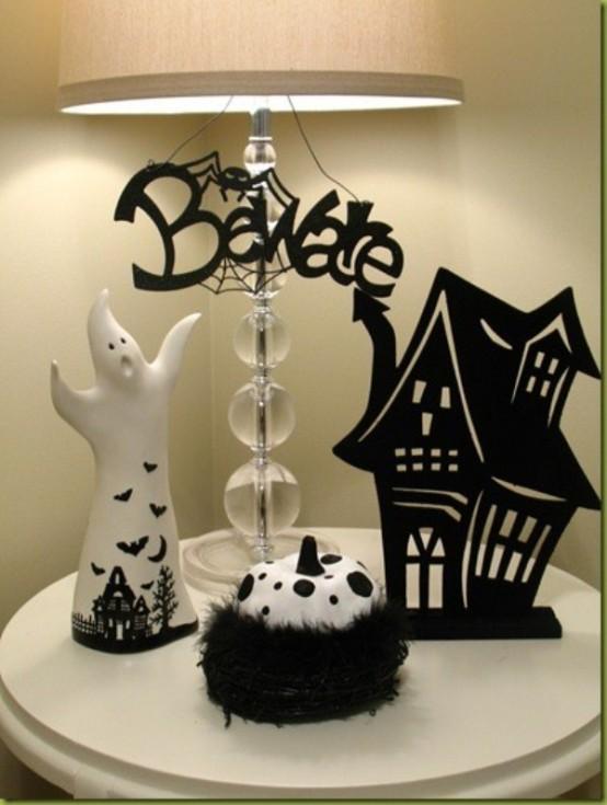 Decoracion Oficina Halloween ~   de Halloween Elegante en Blanco Y Negro  Decoracion de Dormitorios
