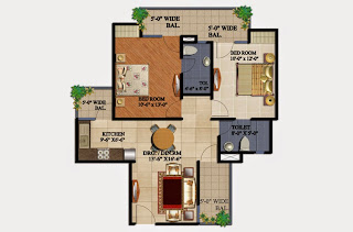 34 Pavilion :: Floor Plans,Amber 2 BHK2 Bedrooms, 2 Toilets, Kitchen, Dining, Drawing, 3 Balconies Super Area - 1075 Sq Ft
