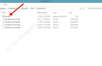 jalankan file batch untuk proses penggabungan file mkv