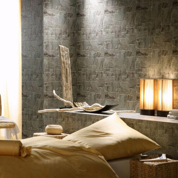 Papel pintado papel pintado stones style para ba os for Papel para empapelar habitaciones