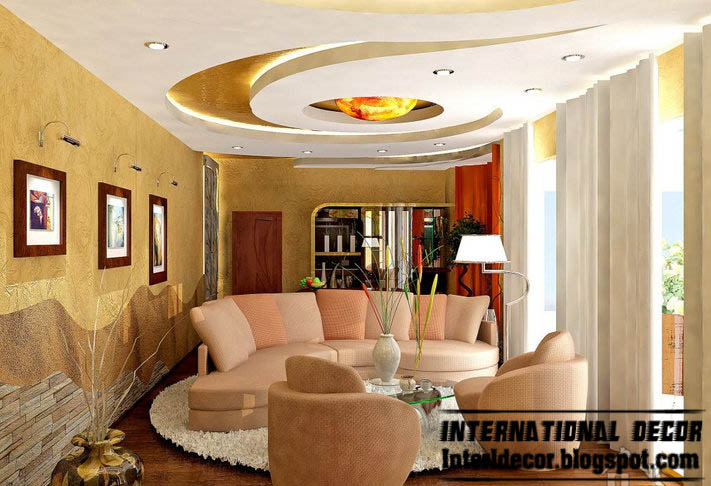 Modern false ceiling designs for living room interior for Ceiling designs for living room images