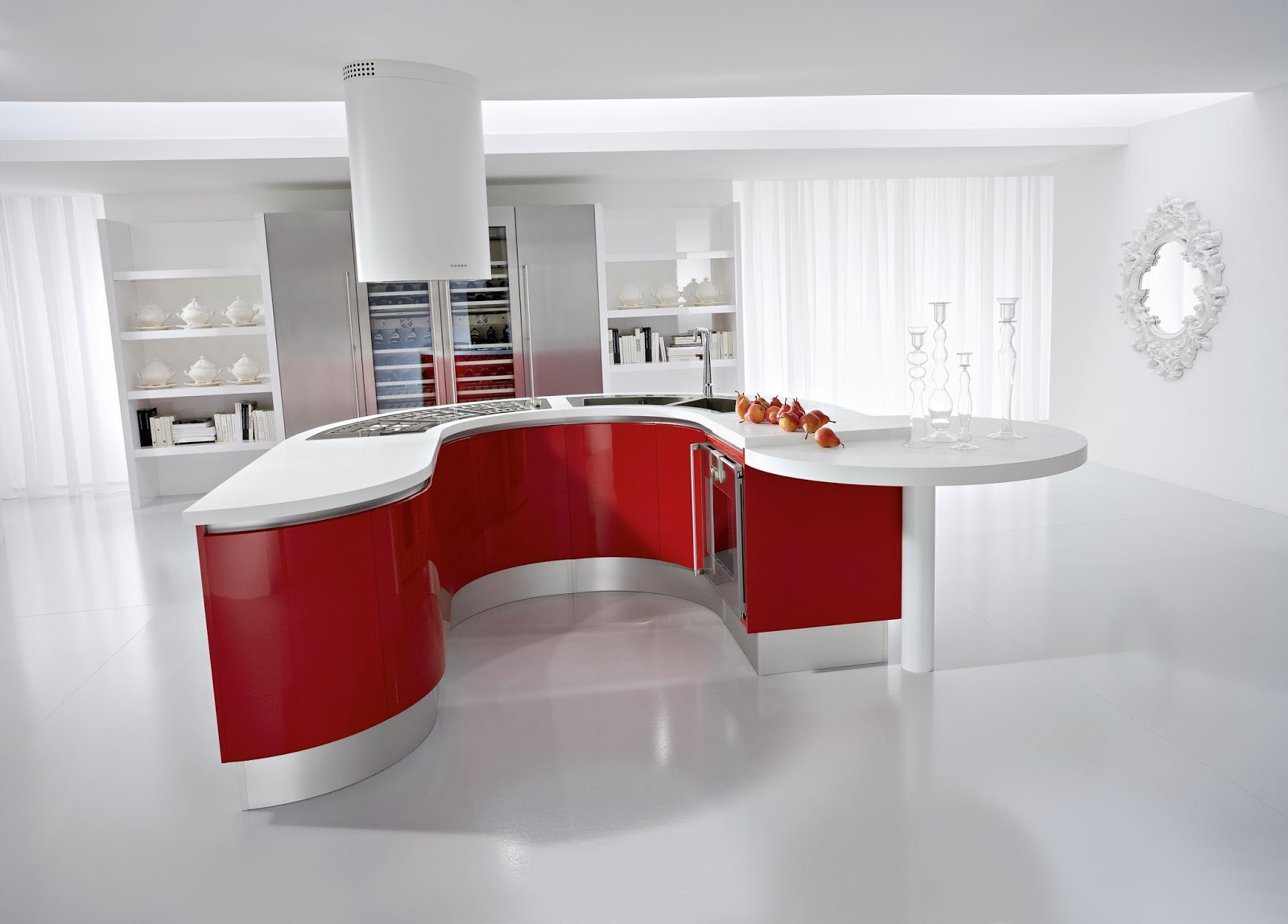 unique red and blue kitchen decorating ideas - housing mania