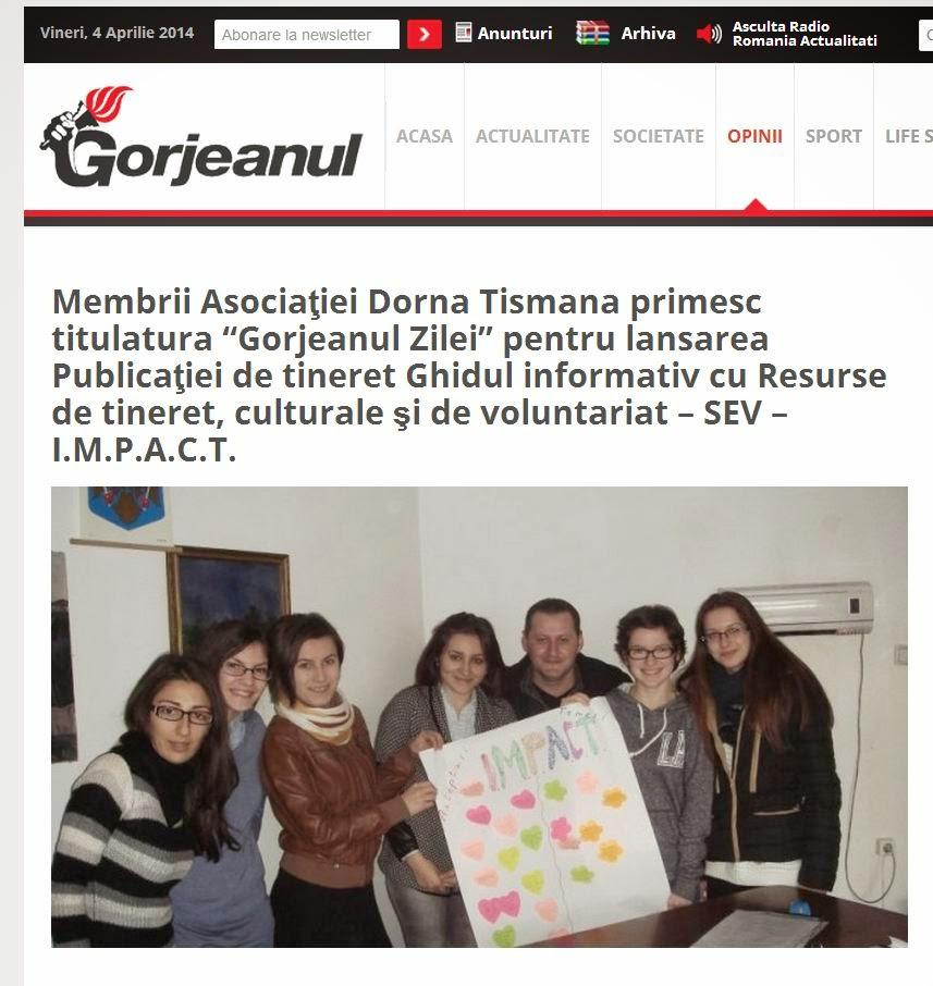 """Membrii Asociaţiei Dorna Tismana primesc titulatura """"Gorjeanul Zilei"""""""