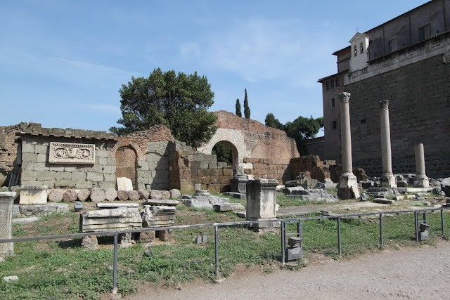 Some of the bases, columns and walls remained along the Forum's main square (Roman FOrum) in Rome, Italy