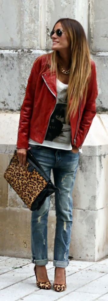 Red jacket, white shirt, jeans, cheetah skin nudes and hand bag for fall