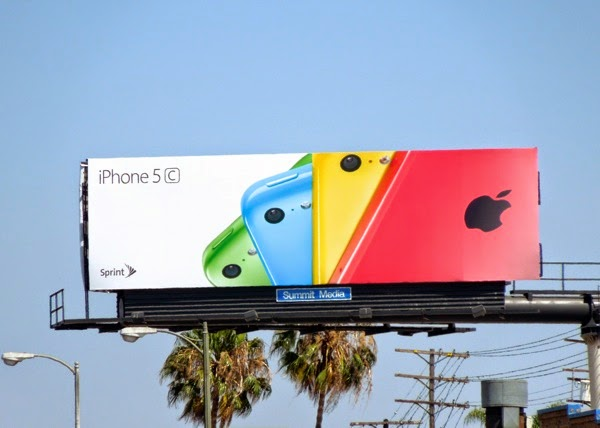 Multi-coloured fan effect iPhone 5c billboard