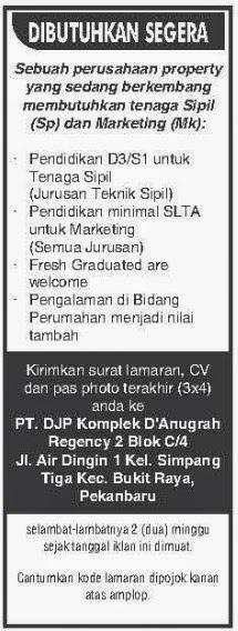 Lowongan Perusahaan Property PT DJP