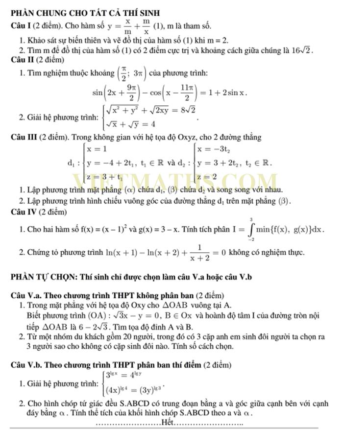 mẫu đề thi thử toán 2014 số 02 có đáp án