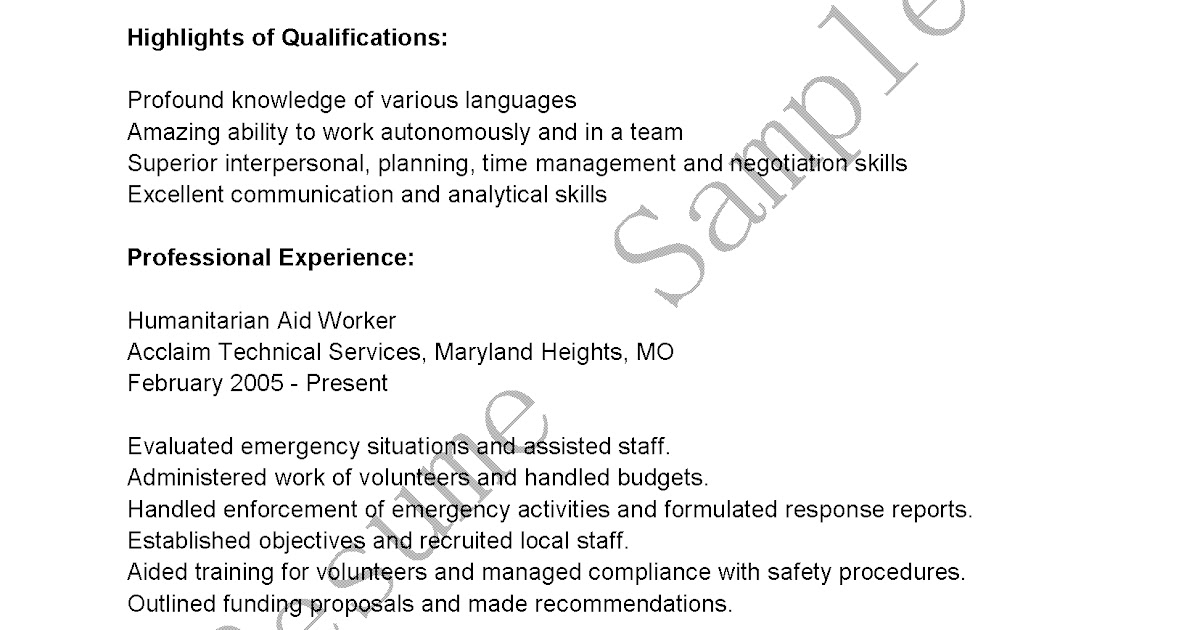 resume samples  humanitarian aid worker resume sample