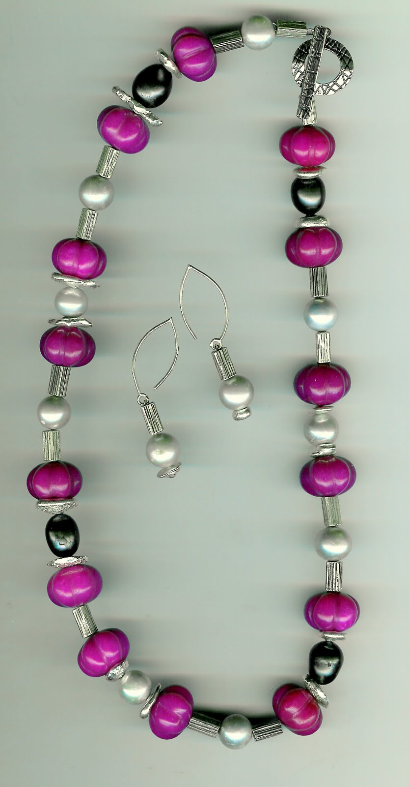 234. Dyed Jade, Akoya Pearls and Thai Sterling Silver