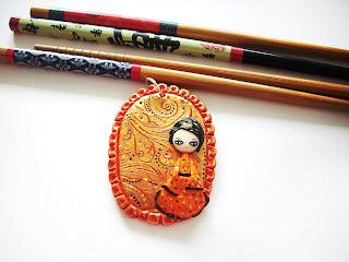 figurine, geisha, polymer clay jewelry, handmade, pendant
