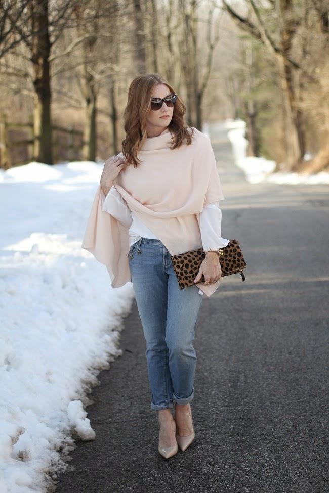 garnet hill, cashmere wrap, loft embellished jeans, kate spade nude heels, clare v leopard clutch