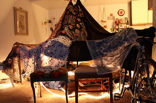 Circus tent style blanket fort