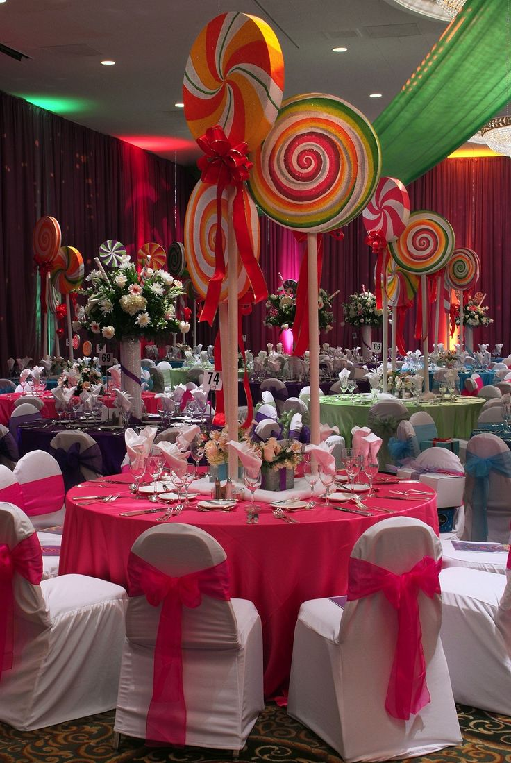 Fiesta estilo candy party una decoraci n dulce para tus for Puerta willy wonka