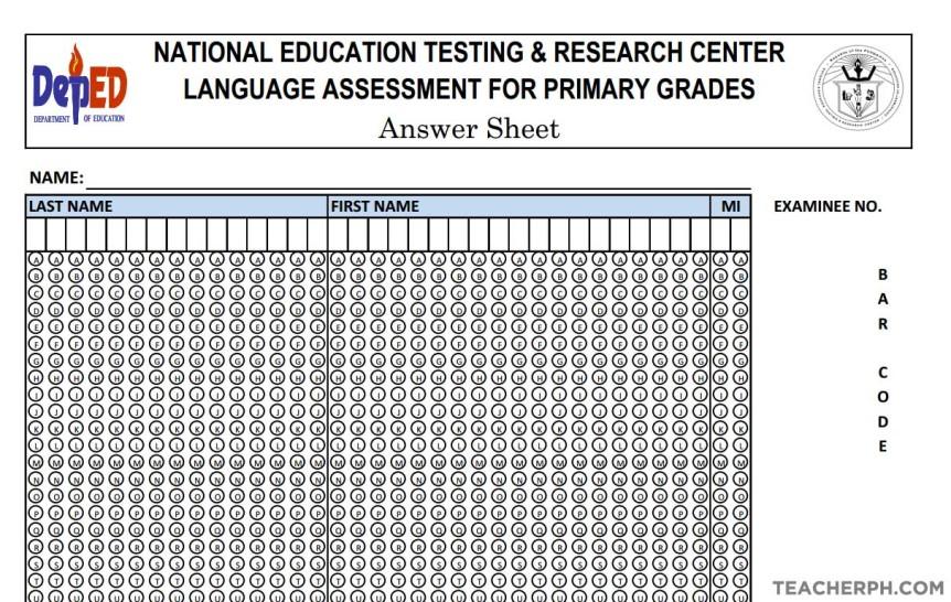 download answer sheet