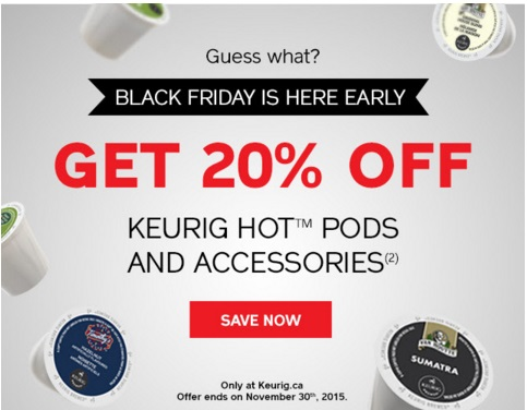 Keurig Black Friday 20% off Hot Pods & Accessories