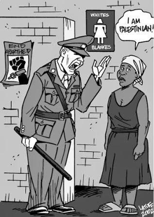 "Israel pratica apartheid, Charge ""Eu sou palestina"" de Carlos Latuff"