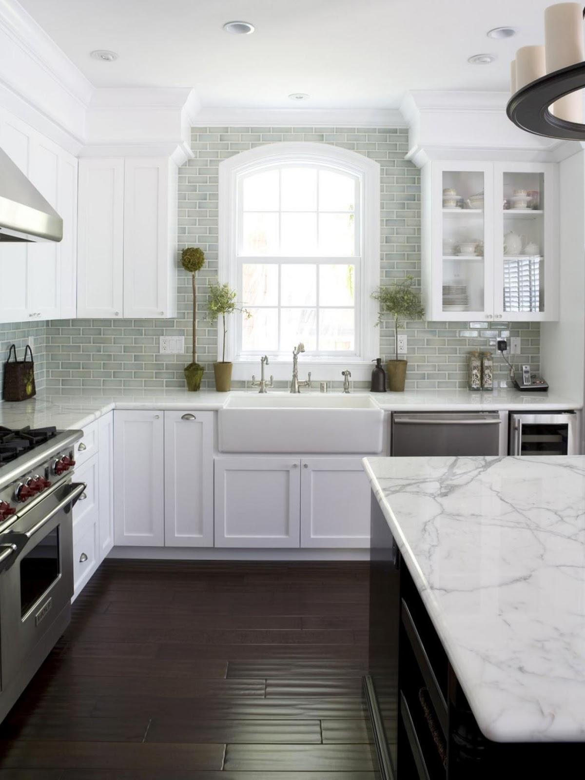 Luxury blue and green backsplash white kitchen