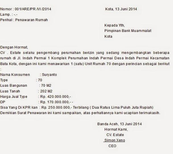 contoh surat penawaran rumah kerjasama kpr 2017 kumpulan