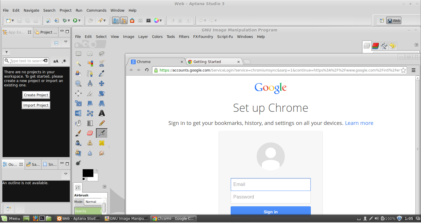 Linux Mint - Aptana, GIMP & Google Chrome