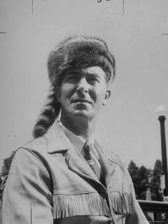 Estes Kefauver in a coonskin cap