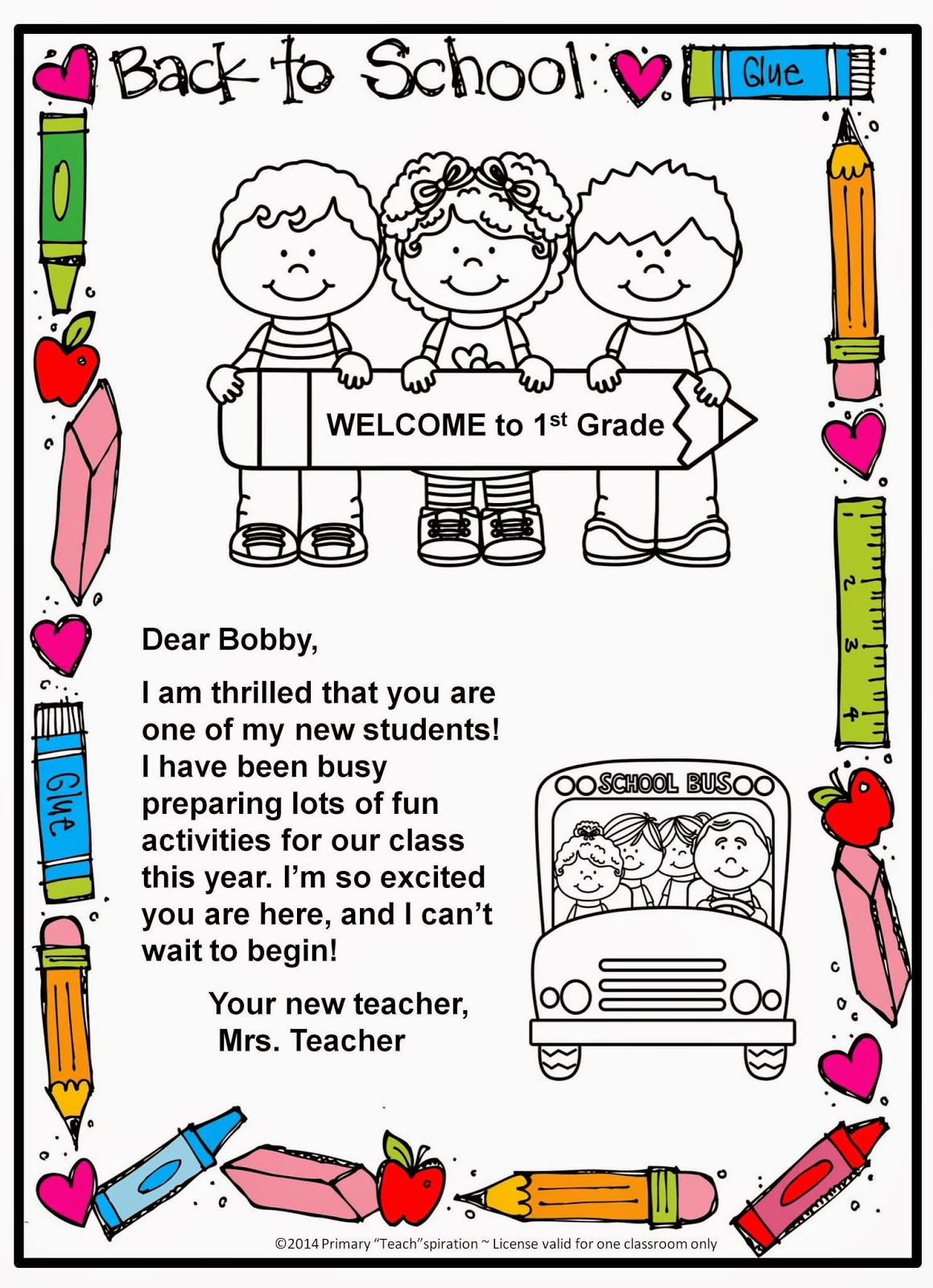 Classroom Freebies Too: Back to School Welcome Letter and Postcard